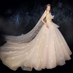 Best Champagne Wedding Dresses 2019 Ball Gown Amazing / Unique Sweetheart Sleeveless Backless Glitter Tulle Beading Sequins Chapel Train Ruffle