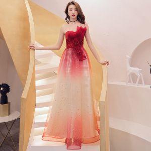 99c0ac1ee Asequible Rojo Degradado De Color Vestidos de noche 2019 A-Line   Princess  Sin Tirantes