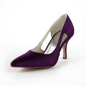 Simples Chaussures Formelles Satin Violet Escarpins À Talons Aiguilles