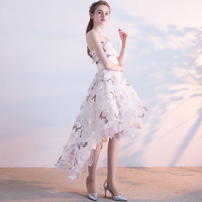 Abordable Robe De Cocktail Robe De Fete Robe De Ceremonie 2017 En Dentelle Fleur Noeud Ceinture Dos Nu Sans Manches Bustier Asymétrique Blanche Princesse