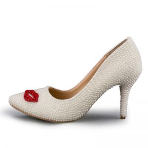 Lovely White Dating Wedding Beading Pearl Wedding Shoes 2018