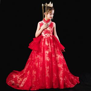 Chinesischer Stil Rot Geburtstag Blumenmädchenkleider 2020 Ballkleid Stehkragen Ärmellos Applikationen Spitze Perlenstickerei Pailletten Sweep / Pinsel Zug Rüschen