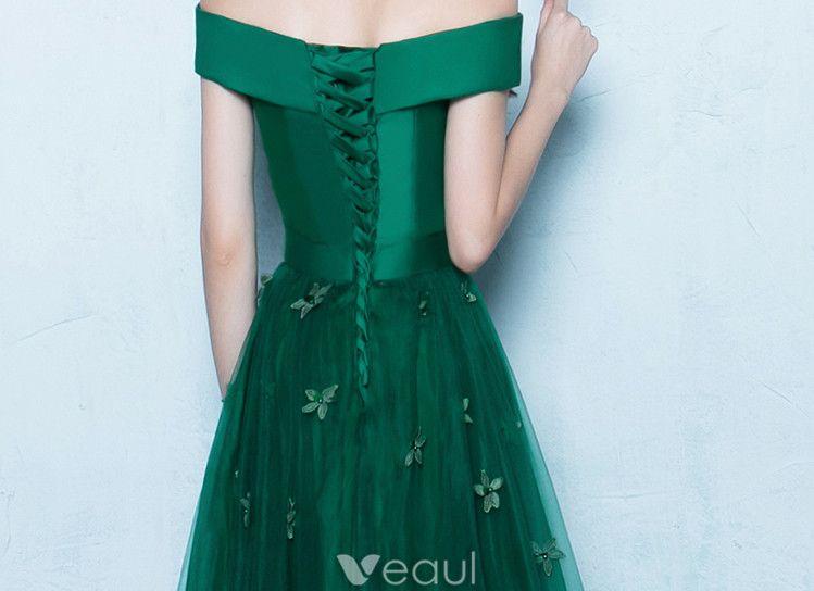 Elegant Prom Dresses 2017 Off The Shoulder Backless Dark Green Long Dress