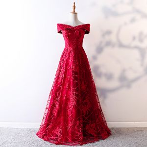 Schöne Rot Abendkleider 2019 A Linie Off Shoulder Spitze Blumen Kurze Ärmel Rückenfreies Lange Festliche Kleider