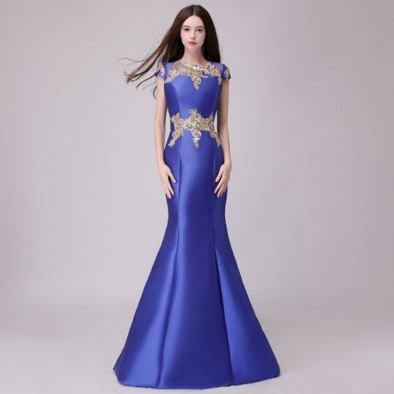 Clásico Azul Real Vestidos de noche 2018 Trumpet / Mermaid Con Encaje Apliques Perla Scoop Escote Sin Mangas Largos Vestidos Formales
