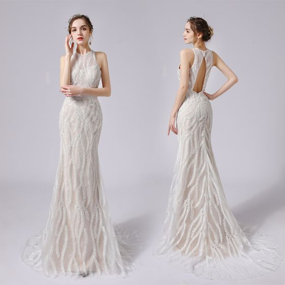Sexy Champagne Lace Flower Wedding Dresses 2021 Trumpet / Mermaid Scoop Neck Sleeveless Backless Sweep Train Wedding