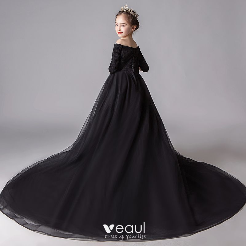 Modest / Simple Black Flower Girl Dresses 2019 A-Line / Princess Off-The-Shoulder 3/4 Sleeve Glitter Polyester Chapel Train Ruffle Backless Wedding Party Dresses