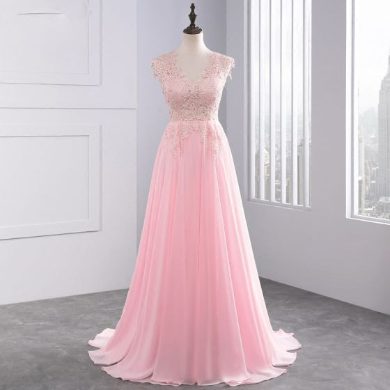 Chic / Beautiful 2017 Candy Pink Evening Dresses  V-Neck Lace Appliques Backless A-Line / Princess Evening Party
