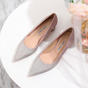 Brillante Degradado De Color Rosa Zapatos de novia 2020 Glitter Lentejuelas 4 cm Low Heel Talones Gruesos Punta Estrecha Boda Tacones
