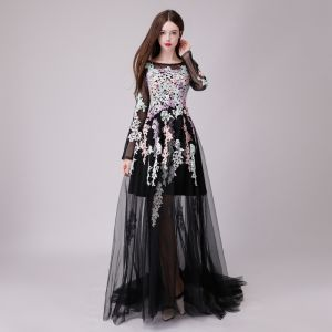 Chic / Beautiful Black Evening Dresses  2018 A-Line / Princess See-through Lace Appliques Scoop Neck Long Sleeve Floor-Length / Long Formal Dresses