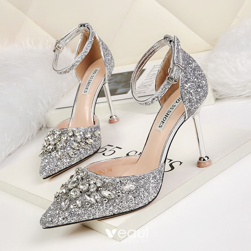 Sparkly Gold Wedding Shoes 2019 Ankle
