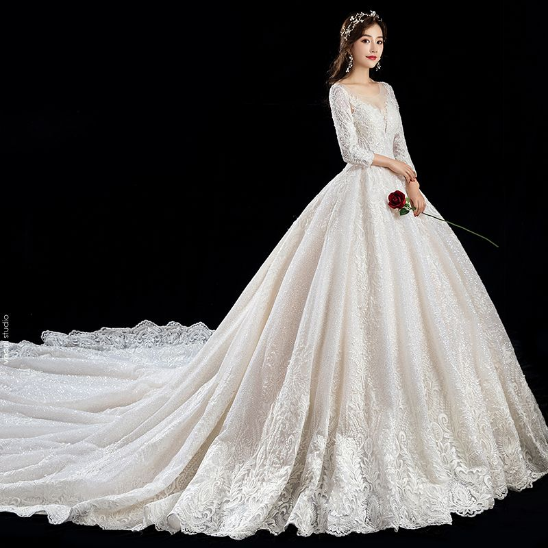 Luxury / Gorgeous Champagne Wedding Dresses 2019 A-Line / Princess Scoop Neck Beading Crystal Sequins Lace Flower 3/4 Sleeve Backless Cathedral Train