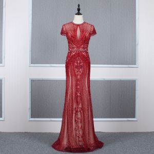 Luxus / Herrlich Rot Durchsichtige Abendkleider 2020 Meerjungfrau Stehkragen Kurze Ärmel Strass Perlenstickerei Sweep / Pinsel Zug Rüschen Festliche Kleider