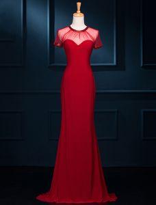 Simple Décolleté Dos Nu Sirène Perlant Scoop Robe De Soirée En Tulle Rouge