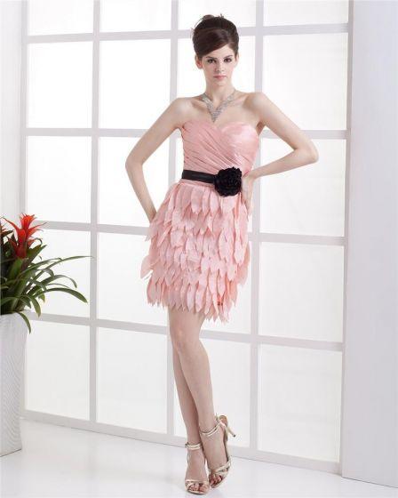 Fleur Cherie Drapee En Taffetas De Longueur Mini Robe De Fete De Cocktail Femme En Couches Manches Fermeture Eclair
