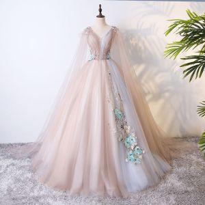 Chic / Belle Champagne Robe De Bal 2017 Robe Boule En Dentelle Fleur Perle Fleurs Artificielles V-Cou Dos Nu Manches Courtes Longue Robe De Ceremonie