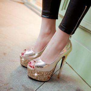 Sparkly Prom Pumps 2017 Glitter Polyester Platform Open / Peep Toe High Heel Pumps