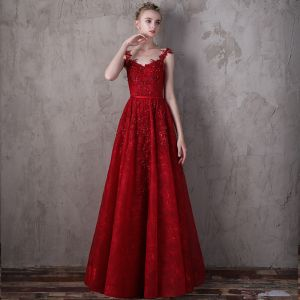 Modern / Fashion Red Evening Dresses  2018 A-Line / Princess Spaghetti Straps Sleeveless Sequins Rhinestone Sash Sweep Train Ruffle Backless Formal Dresses
