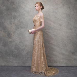 Glitzernden Gold Abendkleider 2017 Mermaid Glanz Spitze Metall Stoffgürtel Off Shoulder Kurze Ärmel Sweep / Pinsel Zug Festliche Kleider