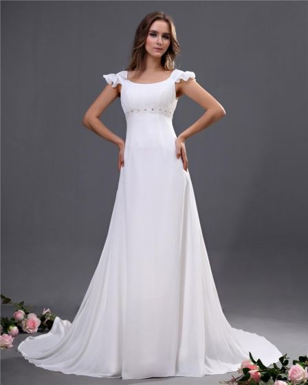 Chiffon Scoop Beading Court Empire Bridal Gown Wedding Dresses