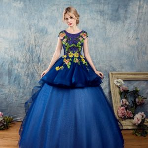 Chic / Beautiful Royal Blue Prom Dresses 2017 Ball Gown Scoop Neck Short Sleeve Appliques Flower Rhinestone Leopard Print Floor-Length / Long Backless Heart-shaped Formal Dresses
