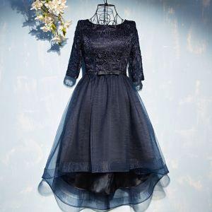 Piękne Granatowe Sukienki Wizytowe Sukienki Wieczorowe 2017 Koronkowe Kwiat Kokarda Cekiny Wycięciem 1/2 Rękawy Krótkie Princessa