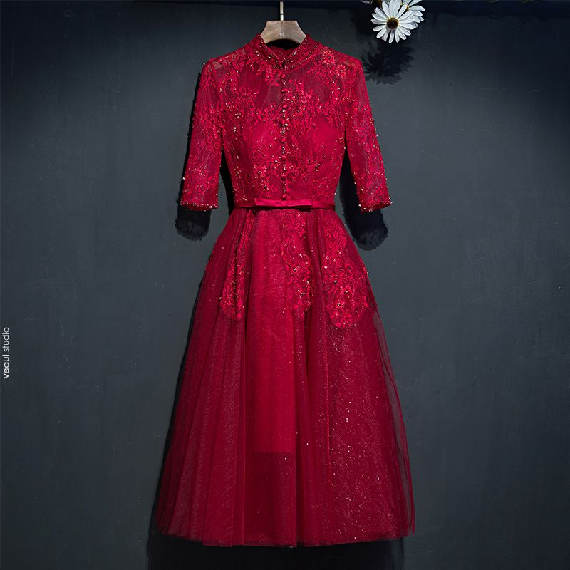 Chic / Beautiful Red Formal Dresses Evening Dresses  2017 Lace Flower Bow High Neck 1/2 Sleeves Short A-Line / Princess