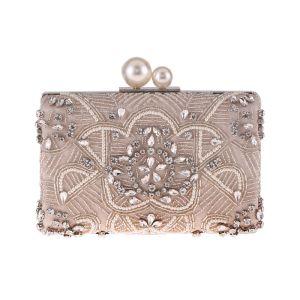 Schöne Beige Clutch Tasche 2020 Metall Perlenstickerei Perle Strass