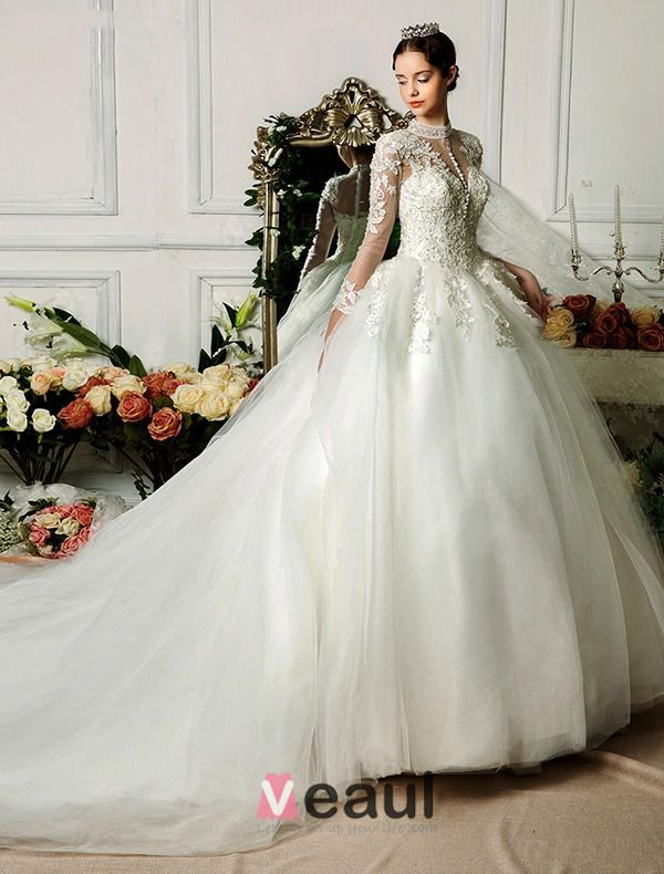 2015 Exquisite Handmade Shoulders 3/4 Sleeves Appliques Lace Ball Gown Bridal Wedding Dress