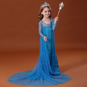 Frozen kostium filmowy Bajka Niebieskie Przezroczyste Sukienki Dla Dziewczynek 2020 Księżniczki Wycięciem Długie Rękawy Bez Pleców Cekiny Trenem Watteau Wzburzyć