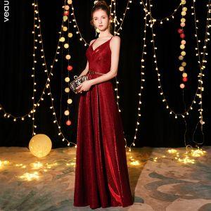 Bling Bling Burgundy Evening Dresses  2019 A-Line / Princess Spaghetti Straps Sleeveless Metal Sash Glitter Polyester Floor-Length / Long Ruffle Backless Formal Dresses