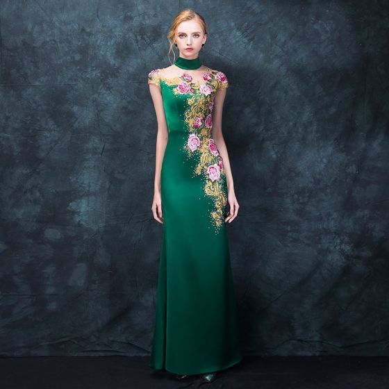 Chinese style Dark Green Pierced Evening Dresses  2018 Trumpet / Mermaid High Neck Sleeveless Embroidered Rhinestone Floor-Length / Long Formal Dresses