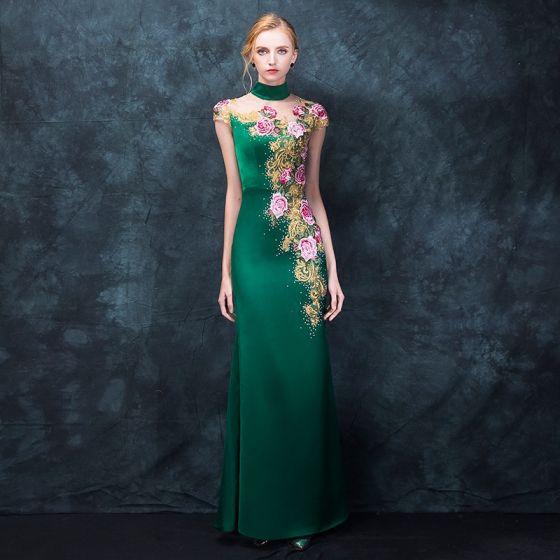 Chinese style Dark Green Pierced Evening Dresses  2018 Trumpet / Mermaid High Neck Sleeveless Embroidered Rhinestone Floor-Length / Long Formal Dresses