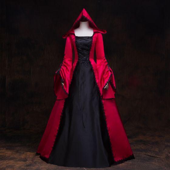 Vintage / Originale Médiévale Gothique Rouge Noire Robe Boule Robe De Bal 2021 Encolure Carrée Manches Longues Longue Dentelle Satin Cosplay Promo Robe De Ceremonie