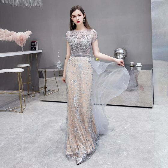 High-end Champagne Grey See-through Evening Dresses  2020 Trumpet / Mermaid Square Neckline Short Sleeve Handmade  Beading Sweep Train Ruffle Formal Dresses