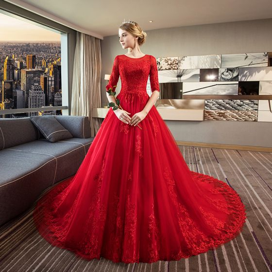 Elegant Red Wedding Dresses 2018 Ball Gown Scoop Neck 12 Sleeves