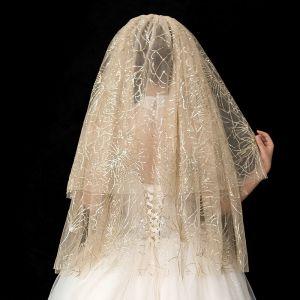 Glitzernden Bling Bling Champagner Kurze Brautschleier 2019 Tülle Glanz Pailletten Hochzeit Brautaccessoires