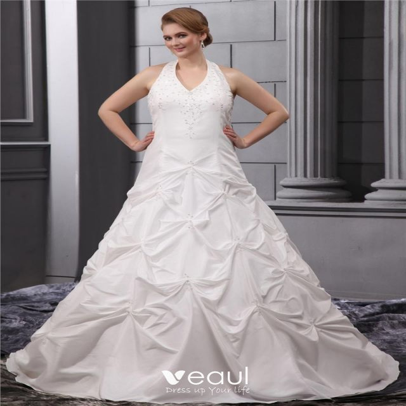 Beading Halter Taffeta Court Plus Size Bridal Gown Wedding Dress