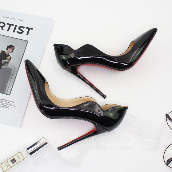 Modest / Simple Affordable Black Street Wear Pumps 2020 12 cm Stiletto Heels Pointed Toe Pumps