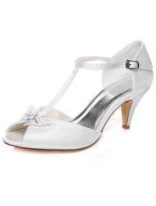 Chic Satin Wedding Sandals Stiletto Heels Peep Toe Bridal Shoes With Ankle Strap