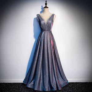Moderne / Mode Bleu Marine Ciel étoilé Robe De Soirée 2019 Princesse Glitter Polyester Encolure Dégagée Faux Diamant Sans Manches Dos Nu Longue Robe De Ceremonie
