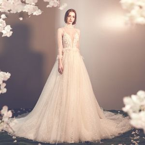 Elegant Champagne See-through Outdoor / Garden Wedding Dresses 2019 A-Line / Princess High Neck 3/4 Sleeve Appliques Lace Beading Glitter Tulle Court Train Ruffle