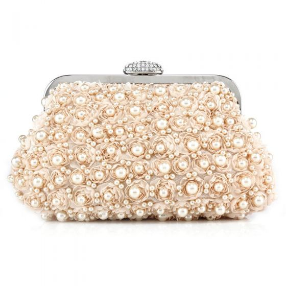 Romantic Lovely Blushing Pink Clutch Bags Beading Pearl Handmade  Velour Wedding Cocktail Party Evening Party Accessories 2019