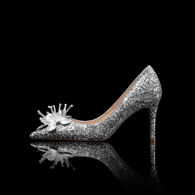 Sparkly Silver Wedding Shoes 2019 Wedding Crystal Sequins 8 cm Stiletto Heels Pointed Toe Pumps