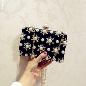 Chic / Beautiful Black Pearl Rhinestone Metal Clutch Bags 2018