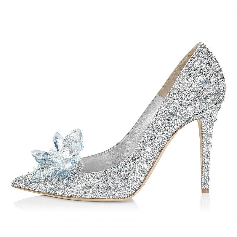 Luxury / Gorgeous Cinderella Handmade  Silver Wedding Shoes 2019 Leather Crystal Rhinestone 9 cm Stiletto Heels Pointed Toe Wedding Pumps