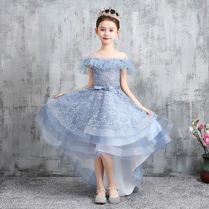 High Low Sky Blue Birthday Flower Girl Dresses 2020 A-Line / Princess Off-The-Shoulder Short Sleeve Backless Appliques Lace Bow Sash Asymmetrical Ruffle