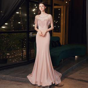 Wysokiej Klasy Różowy Perłowy Przezroczyste Sukienki Wieczorowe 2020 Syrena / Rozkloszowane Wycięciem Bez Rękawów Rhinestone Frezowanie Kutas Trenem Sweep Wzburzyć Sukienki Wizytowe