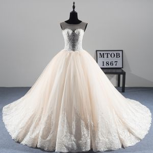 Illusion Champagne See-through Wedding Dresses 2019 A-Line / Princess Scoop Neck Sleeveless Appliques Lace Beading Pearl Chapel Train Ruffle