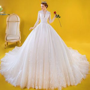 Luxury / Gorgeous Ivory Wedding Dresses 2020 Ball Gown See-through Deep V-Neck 3/4 Sleeve Appliques Lace Beading Cathedral Train Ruffle